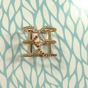 Lauren Conrad geometric triple decker gold ring